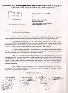 Lettre de l'Association pour le développement de la Maison de santé Rurale de Bulgnéville - 4 décembre 2008