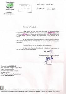 Lettre du Président du CG attribution de subvention exceptionnelle - 25 mai 2009