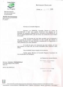 Lettre du Président du CG au Maire - 29 avril 2009